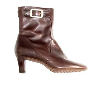 Cole Haan | Brown Gold Buckle Ankle Boots